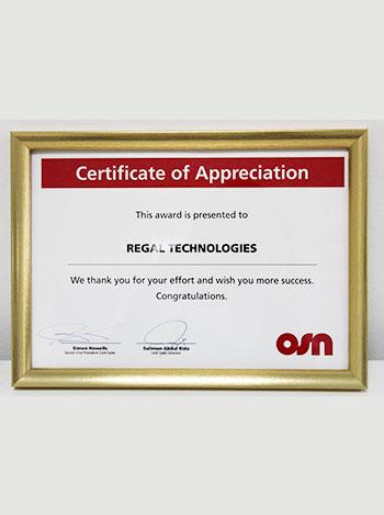 certificate of appriciation,regaltech