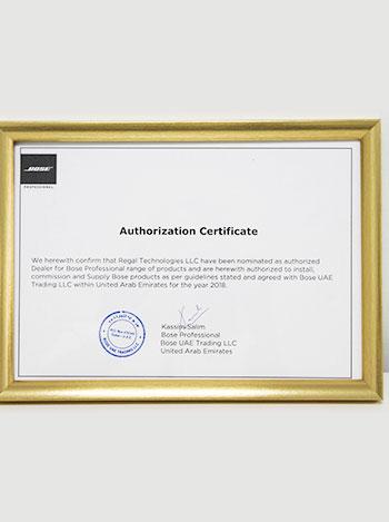 bose authorised certificate, regaltech