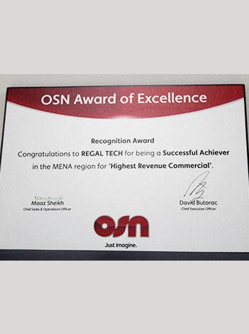 OSN reconigation award, regaltech