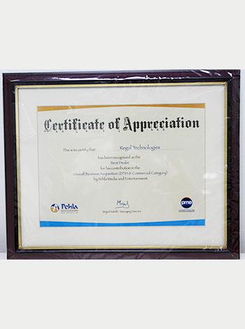certification of appriciation,regaltech